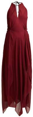 Roland Mouret Risby Halterneck Silk Crepe Dress - Womens - Burgundy