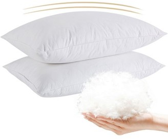Peace Nest White Cotton-Shell Feather & Down Pillow, Twin Size - Set of Two