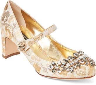 Dolce & Gabbana Gold Brocade Embellished Mary Jane Pumps