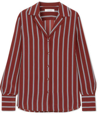 Frame Striped Silk Shirt - Red