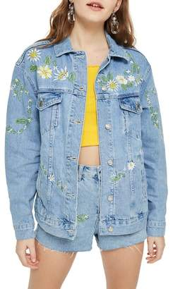 Topshop Love Me Not Embroidered Denim Jacket