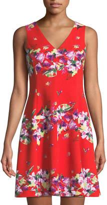 Julia Jordan V-Neck Floral-Striped Dress