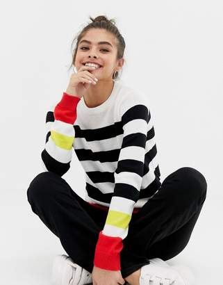 Brave Soul tuscany jumper with contrast stripes