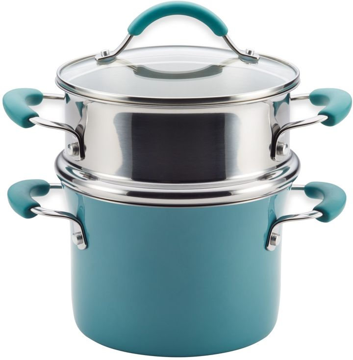 Rachael RayTM Cucina Hard Porcelain Enamel Nonstick 3 qt. Multi-Pot Steamer Set in Agave Blue