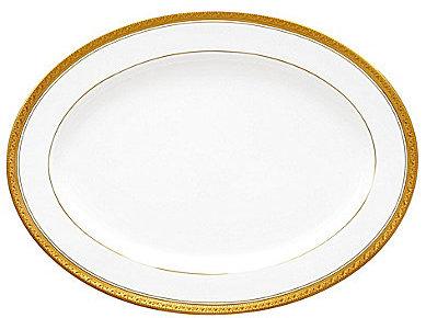 NoritakeNoritake Crestwood Gold Embossed Scroll & Leaf Bone China Oval Platter