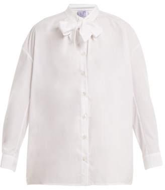 Thierry Colson Rowena Tie Neck Cotton Poplin Shirt - Womens - White