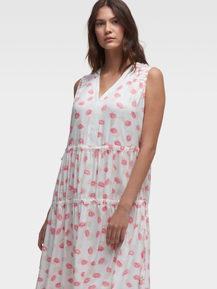 DKNY Sleeveless Lip-Print Dress