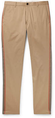 Burberry Slim-Fit Grosgrain-Trimmed Cotton-Twill Chinos - Men - Camel