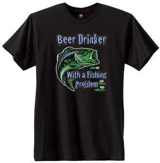 Hanes US Custom Ink U.S. Custom Ink Beer Drinker With A Fishing Problem Nano Men's Cotton T-Shirt (L, )