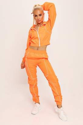 I SAW IT FIRST Neon Orange Piped Shell Joggers