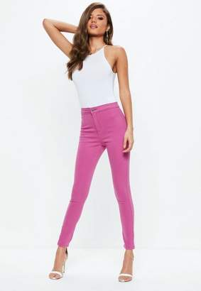 Missguided Pink Highwaisted Skinny Jeans
