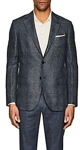 Caruso MEN'S GLEN PLAID LINEN-WOOL THREE-BUTTON SPORTCOAT