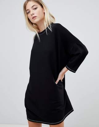 Pull&Bear contrast stitch oversized t shirt dress