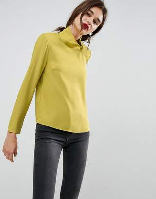 Asos Funnel Neck Top With Shoulder Pads
