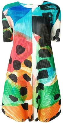 Pleats Please Issey Miyake colour-block flared dress