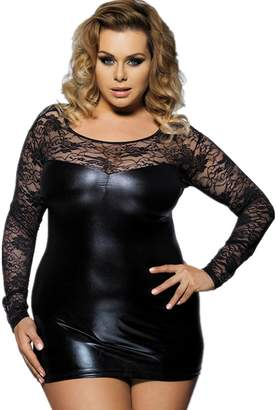9f911bf4db2 ohyeah Women s Plus Size Back See Through Lace Leather Dress Sheer Size US  12-14