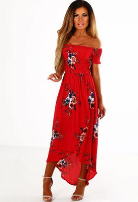 Pink Boutique Daisy Red Multi Floral Bardot Dip Hem Midi Dress
