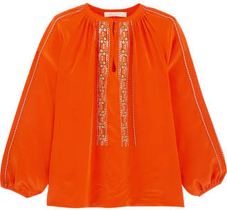 Vanessa Bruno - Honor Embroidered Silk Blouse - Orange