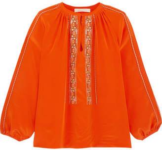 Vanessa Bruno Honor Embroidered Silk Blouse - Orange