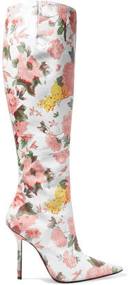 Vetements Floral-print Leather Knee Boots - Antique rose