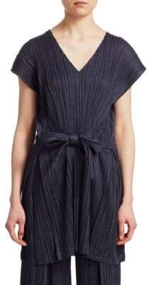 Pleats Please Issey Miyake Short-Sleeve V-Neck Tie-Waist Tunic