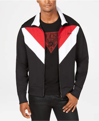 GUESS Men's Lightweight Colorblocked Track Jacket