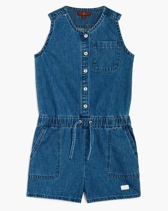7 For All Mankind Girl's S-XL Front Button Romper in Vintage Blue