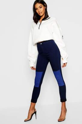 boohoo High Rise Patchwork Stretch Jegging