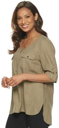 Dana Buchman Women's Solid Linen-Blend Popover Top