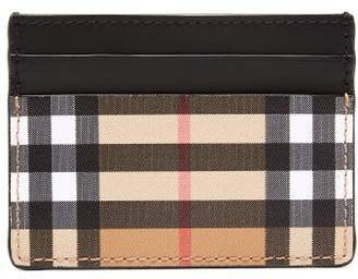 Burberry House Check Print Leather Cardholder - Mens - Black
