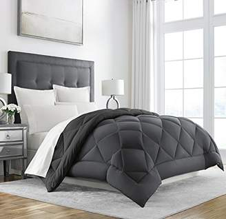 +Hotel by K-bros&Co Sleep Restoration Goose Down Alternative Comforter - Reversible - All Season Hotel Quality Luxury Hypoallergenic Comforter -Full/Queen - Grey/Black