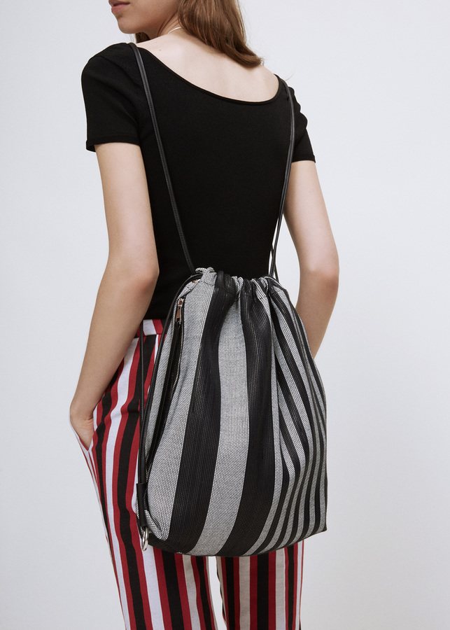 Proenza Schouler black / white woven stripes drawstring backpack