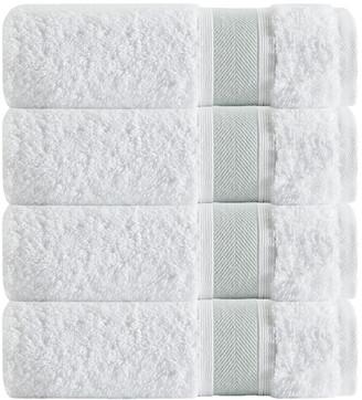 Enchante Set Of 4 Unique Green Stripe Bath Towels