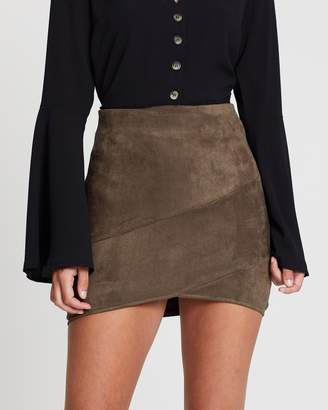 Missguided Faux Suede Wrap Mini Skirt