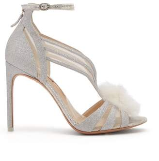 Sophia Webster Paola Glitter Pompom Sandals - Womens - Silver
