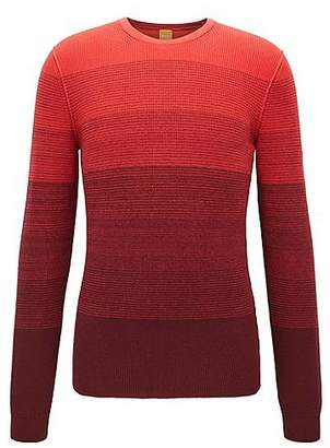 HUGO BOSS Cotton sweater with dégradé rib structure