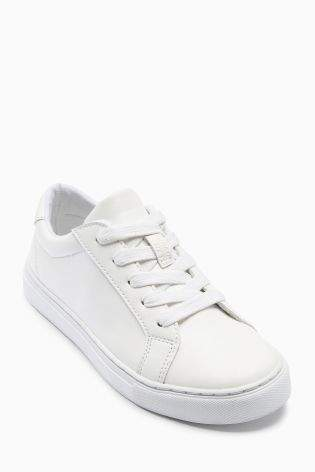 Boys White Clean Lace-Up Shoes (Older Boys) - White