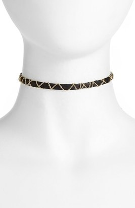 Women's Nashelle Leather & Chain Choker $50 thestylecure.com