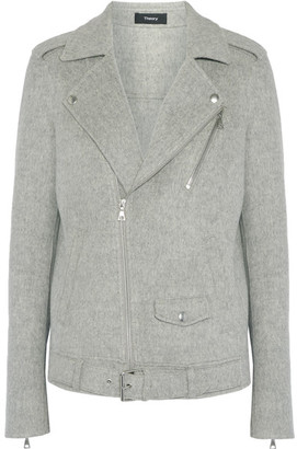 Theory - Tralsmin Double-faced Wool And Cashmere-blend Biker Jacket - Gray $595 thestylecure.com