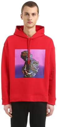 Raf Simons Hooded Print Cotton Jersey Sweatshirt