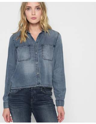 c8fdbf7f2f2 7 For All Mankind Step Hem Denim Shirt With Released Hem In Mineral Blue