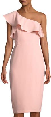 Maggy London One-Shoulder Ruffled Sheath Dress