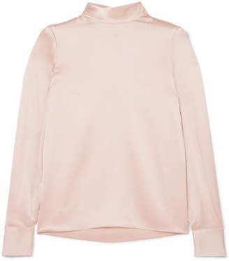 Vince Silk-satin Turtleneck Blouse - Pastel pink