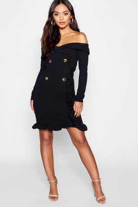 boohoo Petite Bardot Tuxedo Button Mini Dress