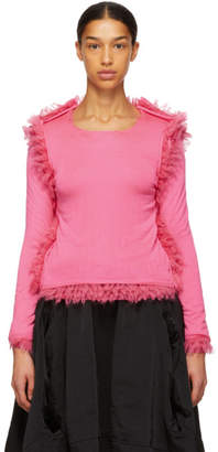 Comme des Garcons Pink Fur Seams Crewneck Sweater
