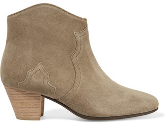 Isabel Marant - étoile The Dicker Suede Ankle Boots - Army green $560 thestylecure.com