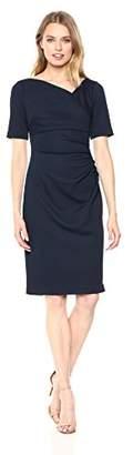 Adrianna Papell Women's Pique Knit Jacquard Draped Sheath Dress