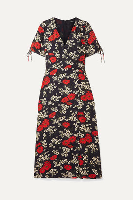 Madewell Wrap-effect Floral-print Crepe De Chine Midi Dress - Navy