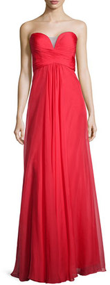La Femme Ruched Strapless Chiffon Gown, Red $295 thestylecure.com