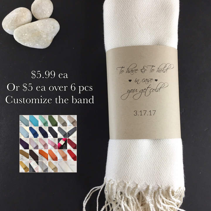 Etsy 6 Pashminas Handmade- Any color- Pashminas Bridesmaids -pashmina shawl - pashmina as a favor - pash